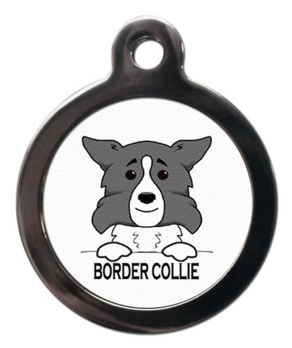 Border Collie Grey Cartoon Pet ID Tag